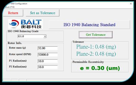 ISO 1940 G6.3, ISO 1940 G2.5, ISO 1940 G1.0